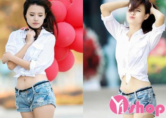 Áo sơ mi nữ buộc vạt đẹp kiểu Hàn Quốc cực sành điệu hè 2021 - 2022