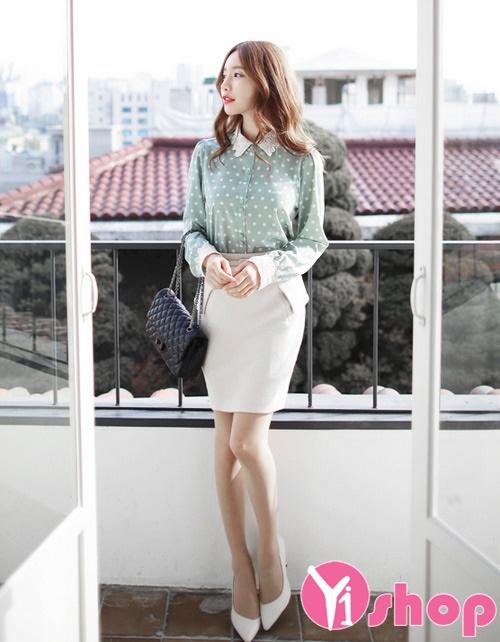 Áo sơ mi nữ chấm bi đẹp form chuẩn Hàn Quốc thời trang hè 2021 - 2022
