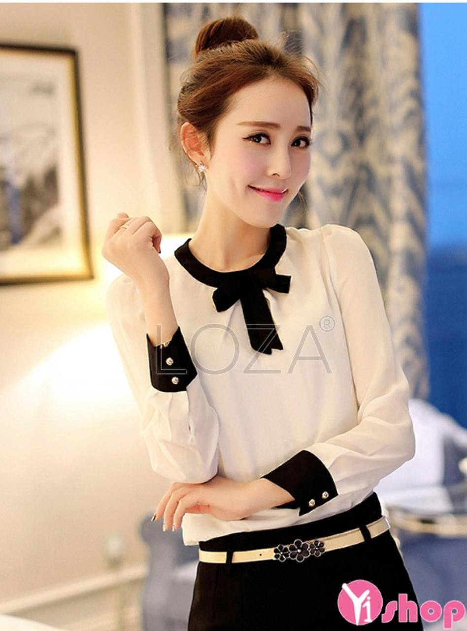 Áo sơ mi nữ cổ tròn Hàn Quốc đẹp cho nàng ngực nhỏ dạo phố hè