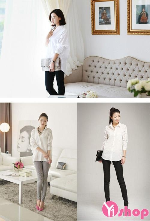Áo sơ mi nữ dáng rộng đẹp phong cách Hàn Quốc hiện đại hè 2020 - 2021