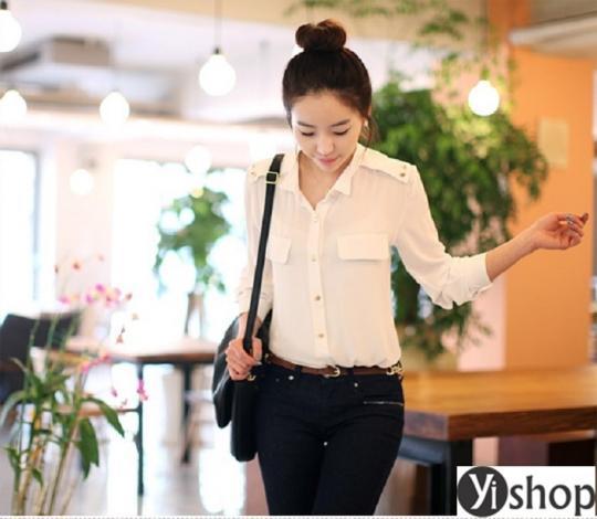Áo sơ mi nữ phối túi đẹp mới nhất diện tới công sở như gái Hàn