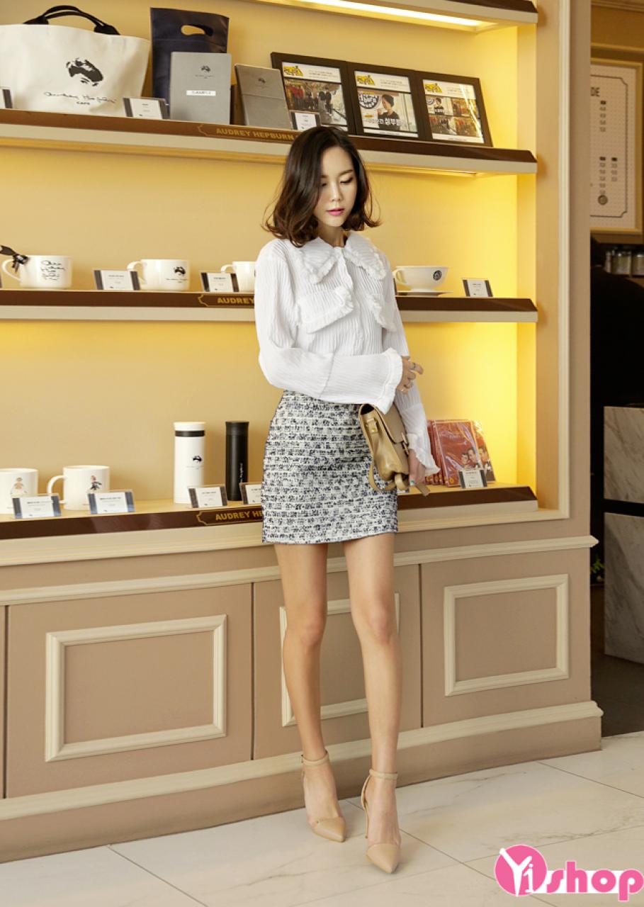 Áo sơ mi nữ trắng công sở đẹp phong cách Hàn Quốc chào hè 2021 - 2022