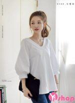 Áo sơ mi nữ trắng tay bồng đẹp nhất hè 2021 – 2022 cho cô nàng vai nhỏ