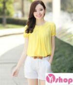Áo sơ mi nữ vải voan màu vàng đẹp cho nàng ngực nhỏ đón hè 2021 – 2022