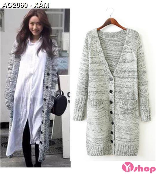 Bộ sưu tập áo khoác cardigan nữ màu xám đẹp duyên dáng thu đông 2019