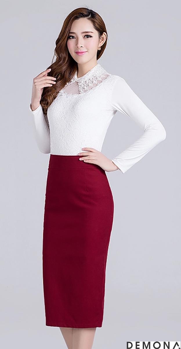 Chân váy bút chì màu đỏ đun đẹp cho bạn gái công sở quyến rũ hè 2019 phần 12