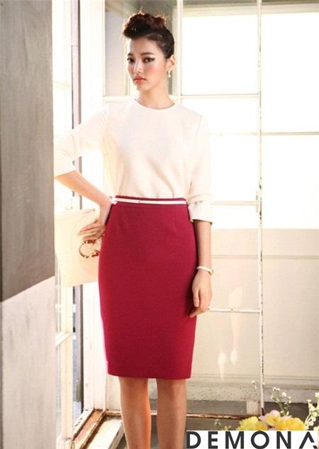 Chân váy bút chì màu đỏ đun đẹp cho bạn gái công sở quyến rũ hè 2019 phần 7