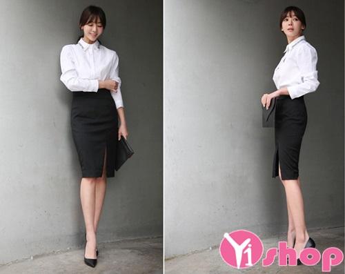 Chân váy đầm bút chì xẻ tà trước đẹp hè 2021 - 2022 kiểu Hàn Quốc gợi cảm