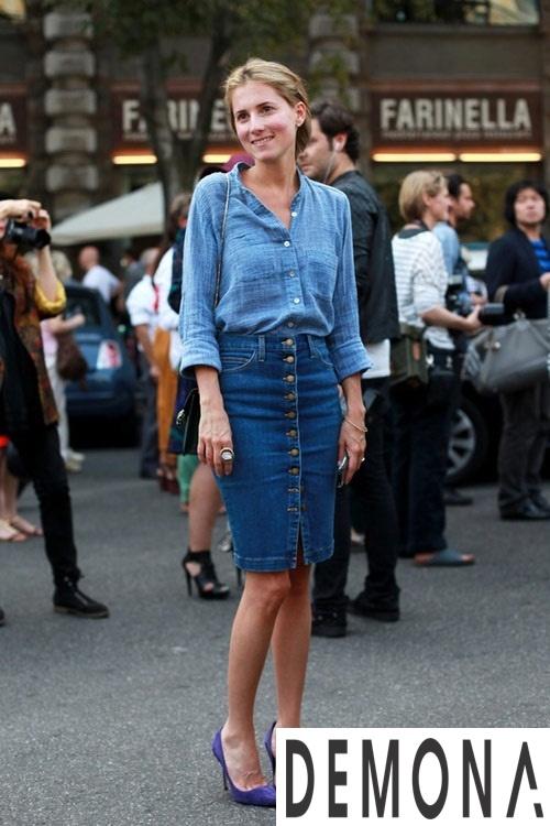 Thiết kế chân váy denim hàn quốc đẹp cho nàng cao gầy hè 2019 phần 1