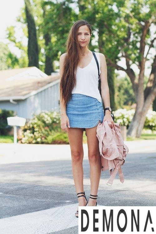Thiết kế chân váy denim hàn quốc đẹp cho nàng cao gầy hè 2019 phần 12