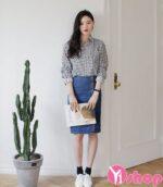 Chân váy đầm jean Hàn Quốc đẹp xu hướng thời trang hè 2021 – 2022