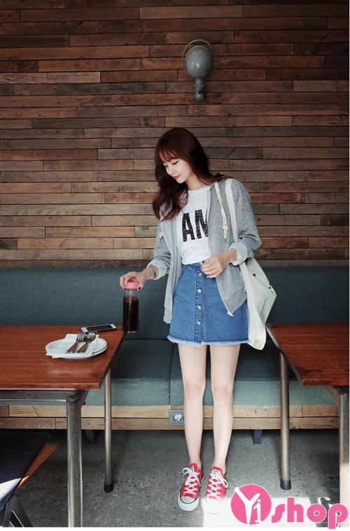 Chân váy đầm jean Hàn Quốc đẹp xu hướng thời trang hè 2021 - 2022