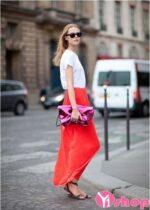 Chân váy đầm màu đỏ đẹp hè 2021 – 2022 phong cách nổi bật dạo phố