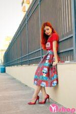Chân váy đầm midi xòe đẹp hè 2021 – 2022 thanh lịch tới công sở
