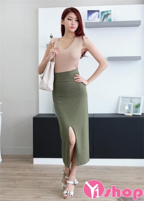 Chân váy đầm ôm xẻ tà đẹp hè 2021 - 2022 thanh lịch tới công sở