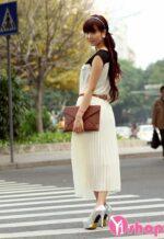 Chân váy đầm xếp ly vải voan đẹp kiểu Hàn Quốc dịu dàng hè 2021 – 2022