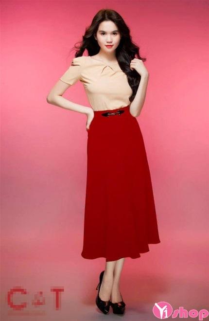 Chân váy đầm xòe dài qua gối đẹp phong cách thời trang hè