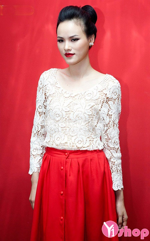 Chân váy đầm xòe màu đỏ đẹp cho nàng nổi bật nữ tính hè 2021 - 2022