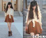 Chân váy đẹp màu nâu cho bạn gái da trắng xinh hè 2021 – 2022