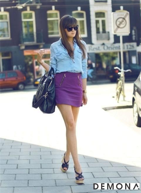 Chân váy đẹp màu tím cho bạn gái dạo phố hè 2021 - 2022 đầy lãng mạn phần 10