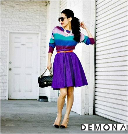 Chân váy đẹp màu tím cho bạn gái dạo phố hè 2021 - 2022 đầy lãng mạn phần 4