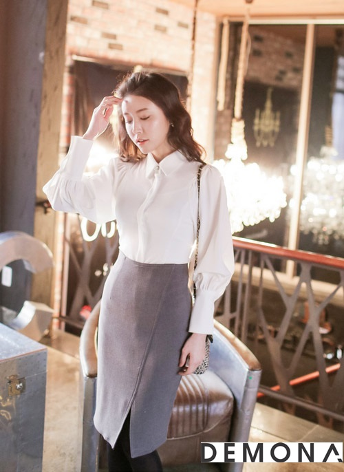 Chân váy đẹp màu xám cho nàng công sở hè 2019 quyến rũ phần 3