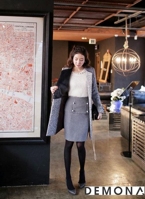 Chân váy đẹp màu xám cho nàng công sở hè 2019 quyến rũ phần 7