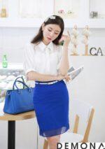 Chân váy đẹp màu xanh cobalt công sở hè 2021 – 2022 phù hợp mọi độ tuổi