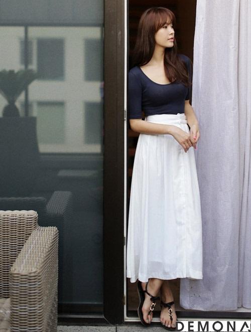 Chân váy đẹp midi kiểu hàn quốc hè 2021 - 2022 cho nàng thấp lùn phần 10