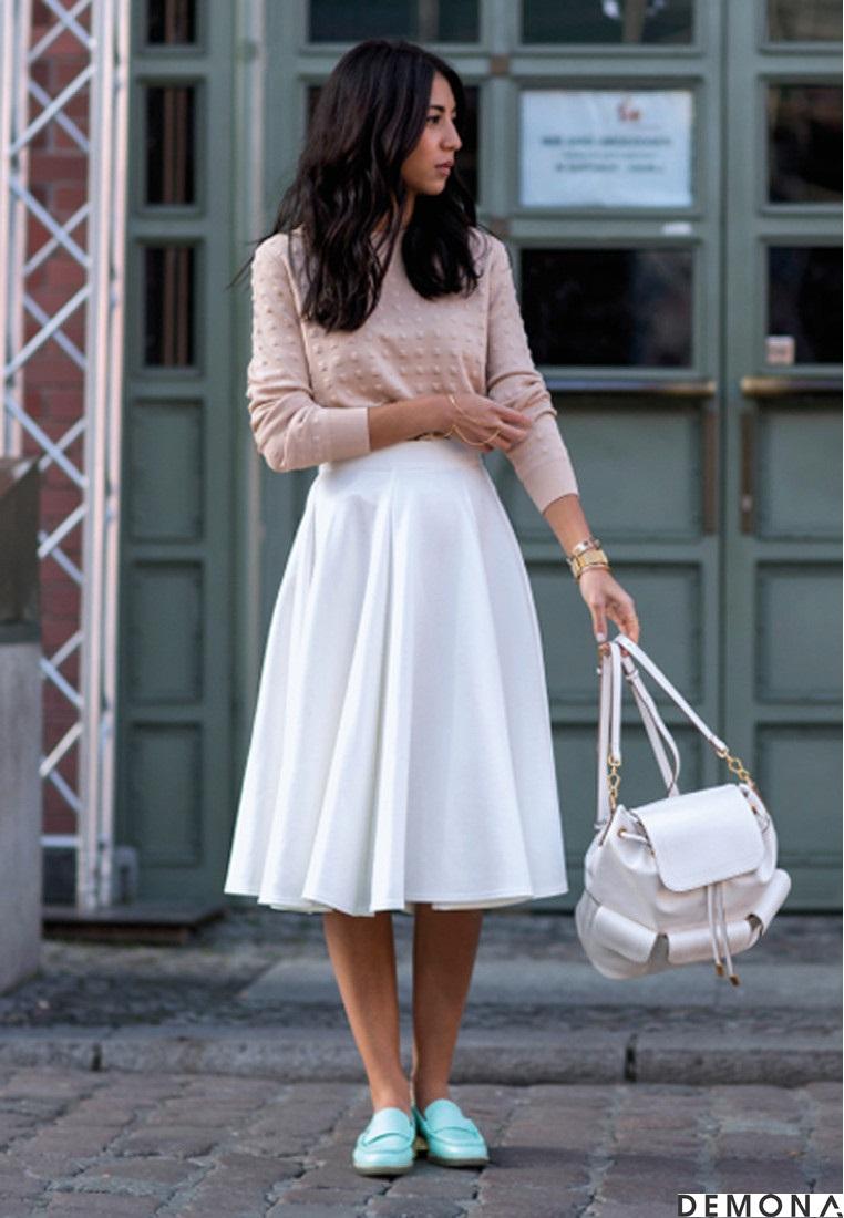 Chân váy đẹp midi kiểu hàn quốc hè 2021 - 2022 cho nàng thấp lùn phần 11