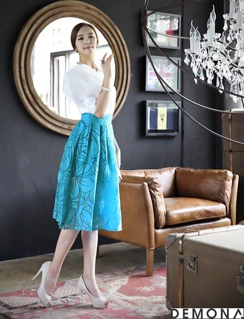 Chân váy đẹp midi kiểu hàn quốc hè 2021 - 2022 cho nàng thấp lùn phần 6