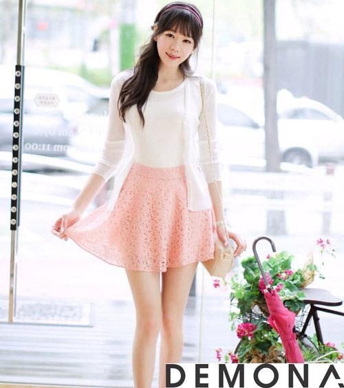 Chân váy đẹp ren đục lỗ hè 2021 - 2022 phong cách Hàn Quốc trẻ trung phần 11