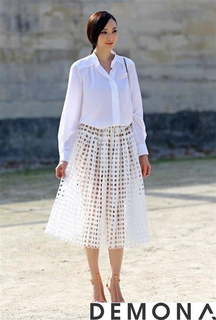 Chân váy đẹp ren đục lỗ hè 2021 - 2022 phong cách Hàn Quốc trẻ trung phần 6