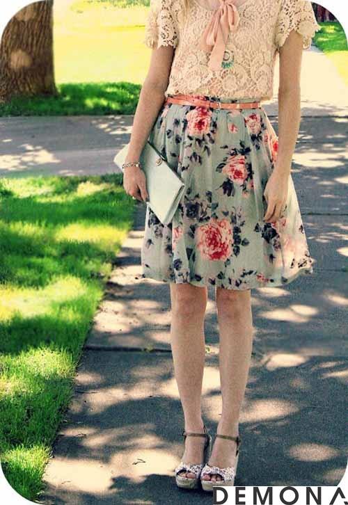 Chân váy đẹp voan hoa phong cách vintage hè 2019 phần 11