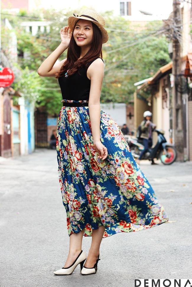 Chân váy đẹp voan hoa phong cách vintage hè 2019 phần 13