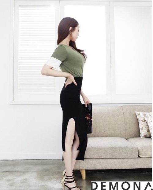 Chân váy đẹp xẻ tà công sở hè 2021 - 2022 cho nàng khoe chân thon phần 10