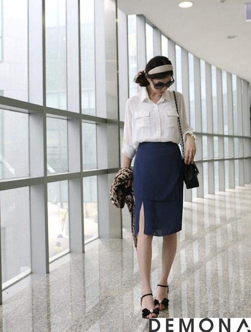 Chân váy đẹp xẻ tà công sở hè 2021 - 2022 cho nàng khoe chân thon phần 8