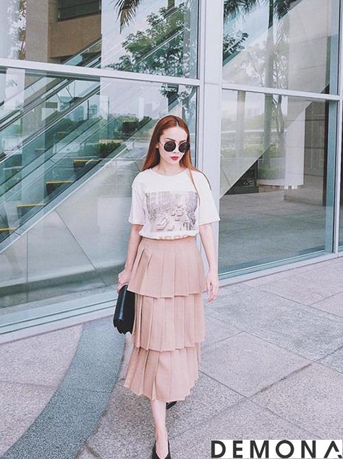 Chân váy đẹp xếp tầng hè 2021 - 2022 cho nàng mát mẻ xuống phố phần 1