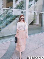 Chân váy đẹp xếp tầng hè 2021 – 2022 cho nàng mát mẻ xuống phố