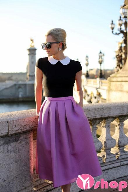Chân váy màu tím đẹp phong cách lãng mạn ngọt ngào nhất mùa hè