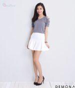 Chân váy xòe màu trắng đẹp cho nàng công sở hè 2021 – 2022 trẻ trung