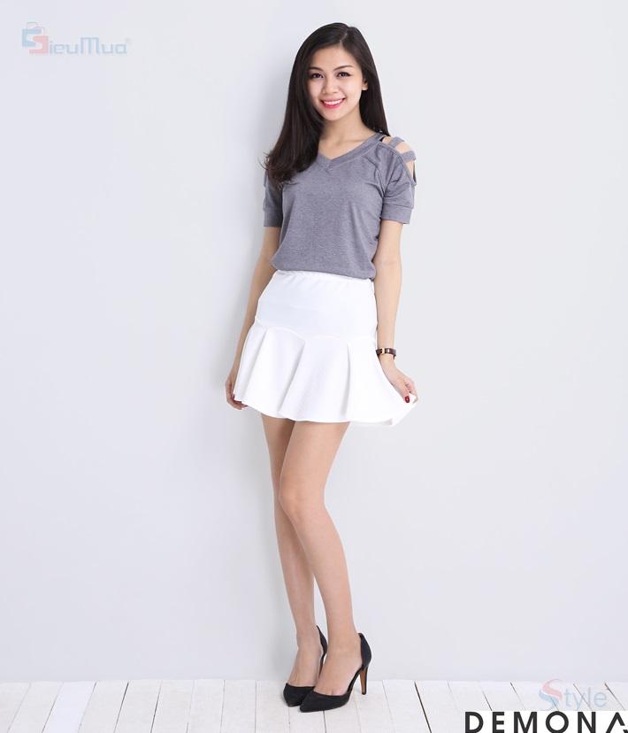 Chân váy xòe màu trắng đẹp cho nàng công sở hè 2019 trẻ trung phần 1