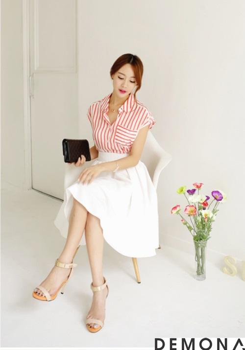 Chân váy xòe màu trắng đẹp cho nàng công sở hè 2019 trẻ trung phần 13