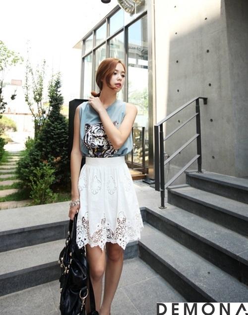 Chân váy xòe màu trắng đẹp cho nàng công sở hè 2019 trẻ trung phần 9