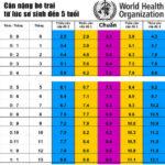 Chiều cao cân nặng của trẻ theo từng tháng tuổi theo WHO