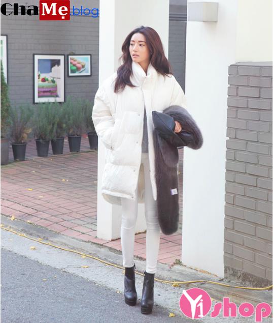 Đang thịnh hành kiểu áo khoác phao nữ sài gòn tphcm cổ lông dáng dài đẹp thu đông 2021 - 2022