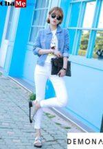 Diện áo khoác jean nữ đẹp như fashionista hàn quốc thu đông 2021 – 2022