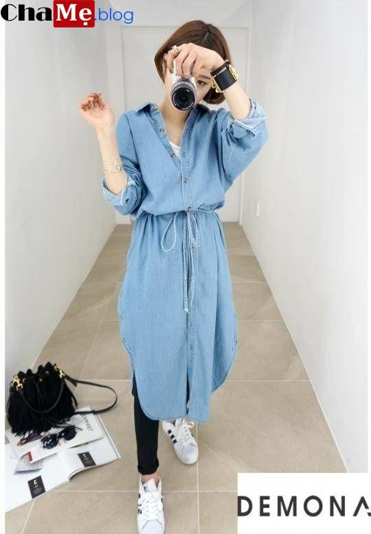 Diện áo khoác jean nữ đẹp như fashionista hàn quốc thu đông 2021 - 2022