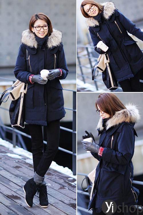 Diện áo khoác nữ cổ lông đẹp ấm áp ngày đại hàn đông 2021 - 2022 phần 1