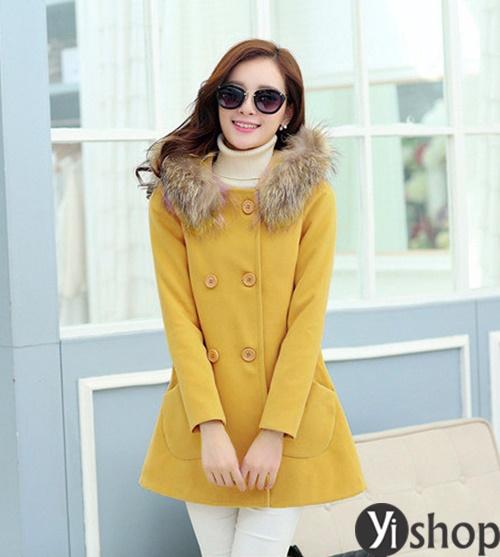 Diện áo khoác nữ cổ lông đẹp ấm áp ngày đại hàn đông 2021 - 2022 phần 13